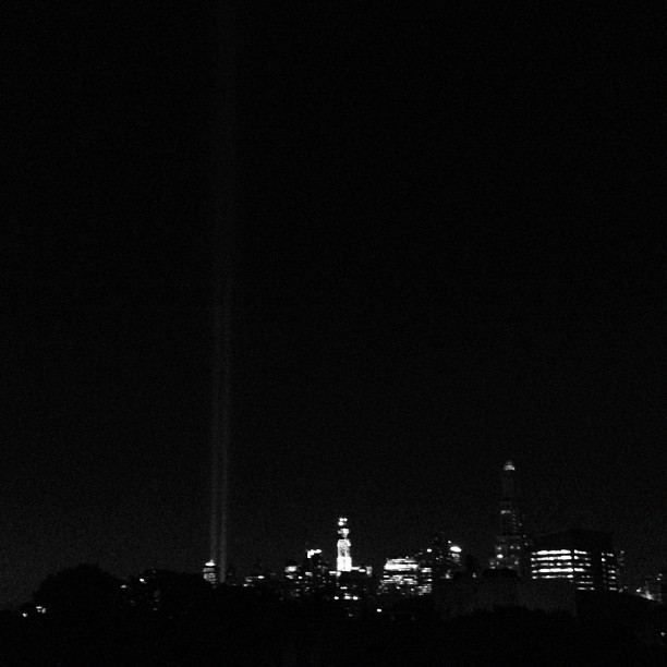 From the roof. #911 #nyc #lights #neverforget (Taken with Instagram)