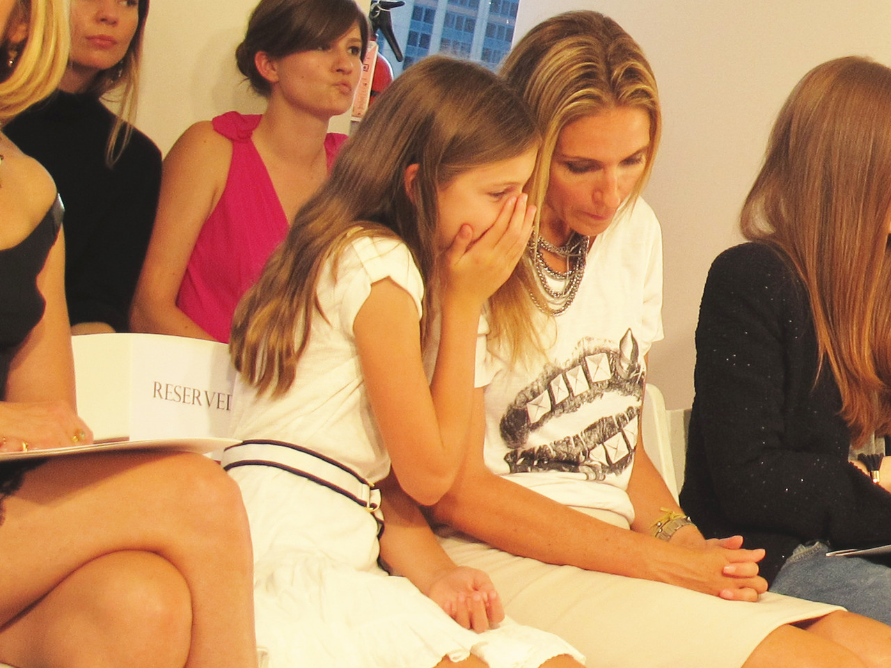 Mother and daughter at the Oscar de la Renta Spring 2013 show.
