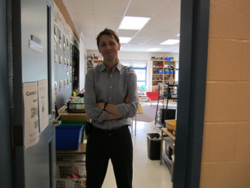 My brother Shawn at his kindergarten class door 2011 Photo by fellow teacher Jill Dodds
