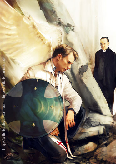 "brilcrist:  Avenging Angels AU character series- original idea was based on these brilliant GIF set: Azriel.tumblr.com- and these are continuation from my previous test paint:here Sorry,no Castiel Easter egg this time:/and what else…ow u want Loki? well, he has his glorious big spread pages alone~ but since i'm in the middle of organizing my fan artbook and i'm such a ""scumbag"" i decided to keep loki art for the book~"