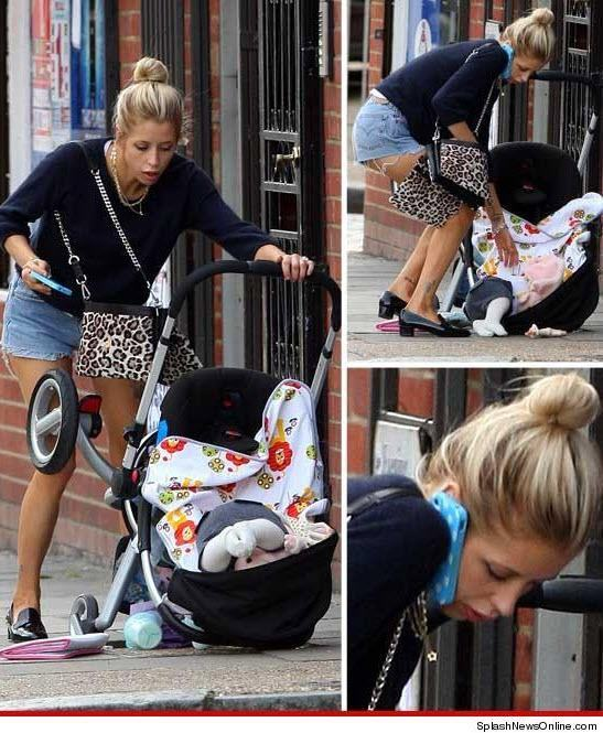 drops the stroller because she's on the phone WTF