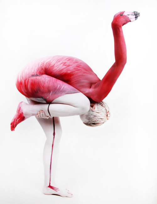 thekhooll:  Human Flamingo by Gesine Marwedel Body painting is not just paint on a living canvas, it is picking up the bodyshapes in the subject and the painting on the body. It is the transformation of a human being into a breathing, moving, living work of art.  Esto es arte!
