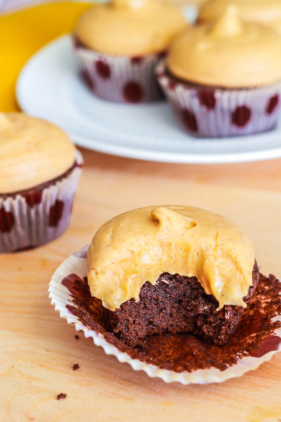 gastrogirl:  fudge brownie cupcakes with pumpkin cream cheese frosting.