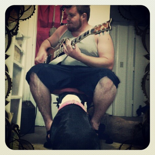 Zombri loves her rockstar daddy. #guitar #zombri #bostonterriersofinstagram #bostonterrier #dogsofinstagram #lovin  (Taken with Instagram)