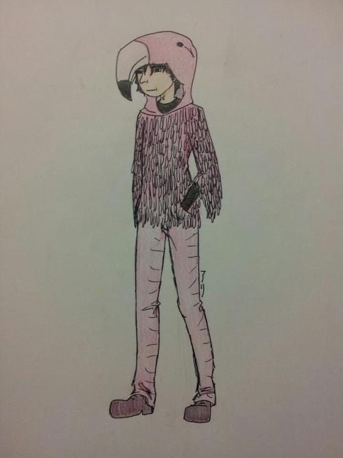 neilflamingoart:   'Neil dressed as a flamingo drawn for me by my friend Ali' Submitted by Hyperbeeb on tumblr. Love it.