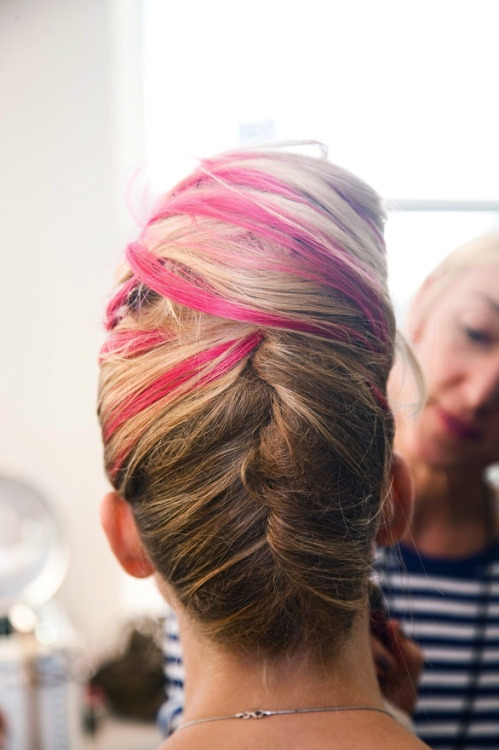 French twist with hot pink streaks! New York Fashion Week #NYFW  Backstage at Oscar de la Renta S/S 2013 photographed by Nathan Kraxberger