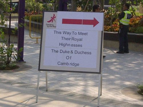 The Duke and Duchess of Cambridge will visit Gardens by the Bay where Their Royal Highnesses will visit an artificial rainforest mountain. The couple will then visit the Colonial Garden where they will be invited to plant a tree. September 12th 2012.Source:Samantha Quah ‏@azuresque