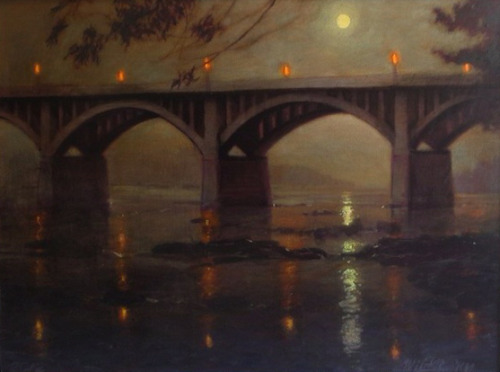 "Night Bridge II cropped on Flickr. ""Night Bridge"" - 30"" x 40"" mixed media by artist, Blue Sky - 2012 www.BlueSkyArt.com"