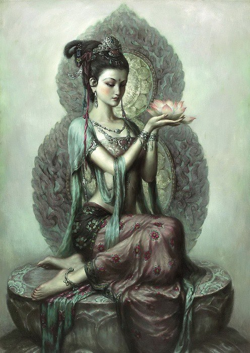 "Kuan Yin, the Goddess of Mercy and Compassion, is a manifestation of the Divine Mother and serves mankind in much the same way as Mother Mary. Many think of her as the Buddhist Madonna and Savioure ss of the East. Her names are as numerous as those of Mother Mary and her title and office as a Goddess denotes her level of attainment as a Cosmic Being. To the people of Japan she is known as Kannon and in China her name is Guanyin. You may have heard of her as Miao Shan, a legendary Chinese Princess known for her great compassion or by her popular Tibetan and Mongolian name of Tara.Kuan Yin is a bodhisattva, a being of wisdom destined to become a Buddha. She has taken the vow of a bodhisattva to save all beings from suffering by forgoing the final state of Buddhahood. Scholar Robert Thurman explains these celestial saviors saying:Bodhisattvas are truly messianic figures, spiritual heroes and heroines willing to sacrifice themselves for others life after life. At the same time, they are keen to develop the wisdom that understands reality and the art to be effective in saving beings. Kuan Yin is called the Goddess of Mercy because she embodies the flame of mercy and compassion. We can pray to her not only for comfort, healing, guidance and succor but also for mercy, compassion, and forgiveness. She shows us through the flame of forgiveness how to free ourselves from all hardness of heart and teaches us to have compassion for all. She comes as the Mother to dispel all illusion.The age of Aquarius is dawning. Mystics and sages say this is the age for the awakening of our understanding of God as Mother. It is the age for the raising of the Mother flame. Kuan Yin teaches us the safest way to accomplish this is through prayer and devotion to God. There are many legends surrounding this celestial bodhisattva. One particularly beautiful one illustrates how Kuan Yin, more appropriately known as Kuan-shih-yin, came to be known as such. Her name means ""one who regards, looks on, or hears the sounds of the world."" The legend says Kuan Yin paused on the threshold of heaven as she was about to enter when she heard the anguished cries of the world. Out of compassion for the suffering of others, she turned and vowed to remain and help those in need for however long this may take. The bodhisattva vow is a sacred and holy vow and not one to be taken lightly. Kuan Yin is a urturing Mother and the love and compassion she has for all is truly great.  ~ Sacred Wind"