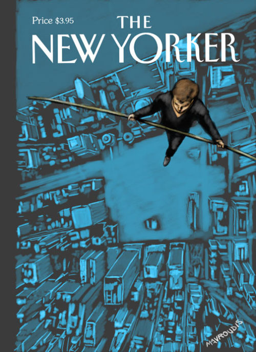 "ANATOMY OF A NEW YORKER COVER: A LOOK BACKThis was the final cover submission for The New Yorker I provided for the 5th Anniversary of the 9/11 attacks. I had played around with a lot of ideas before that one.Here's a few of 'em…It started with the images of the missing towers only outlined by the breaks in the clouds. I liked the idea well enough and submitted that.  …that one didn't fly (although I still like it) so I worked on a few different angles…  I had recently read about Philippe Petit, the man who walked between the WTC towers on a tightrope in August of 1974. I thought about how it would never be possible to duplicate that feat. But thinking about the strength and determination of New Yorkers on September 11th (and beyond) I thought,  ""they could still do it…. and they wouldn't need a tightrope"". That lead me to this sketch:  The Art Director of The New Yorker, Françoise Mouly, called back and said they liked the idea. They wanted to see what I could come up with… I tried a few more ideas around the theme…  …then I combined the previous ideas…    Those didn't quite work… so I tried a few more…    thought about using the legs as the towers… or the city as the tightrope… nah. Finally, I went with the looking down version… over the WTC site. (the one you see above.)  … …although I love this image, The New Yorker still thought it wasn't quite right  and it was passed over to the excellent Owen Smith. And Owen promptly knocked it out of the park. It was made into a double cover… the first one the figure of Petit floats against nothing…. the second reveals the city and the Tower footprints below.  That cover was later named as the Cover of the Year by the American Society of Magazine Editors (ASME) and was named as one of the Top 10 Covers of the Year by Advertising Age magazine.  … … … … … .  From the ASME website:From The New Yorker: For the five-year 9/11 anniversary cover, John Mavroudis' concept was to stay away from the surfeit of images that recall the horror and remember the wonder of Philippe Petit's 1974 tight-rope walk between the towers. The result in Owen Smith's painting is magical: the walker, in the absence of towers and rope, remains suspended in the white space of a blank page.  The two-part cover (a first for The New Yorker) is a memorial to the spirit  of humanity and those who died there, and especially to the man who did  a perfect dive as he plunged to his death.  Here's what Advertising Age had to say:   ""Even those who don't remember Philippe Petit's 1974 high-wire walk  between the towers of the World Trade Center feel this void. A second  cover, behind the first, filled in the white space with the  footprints of the towers. ""Soaring Spirit,"" by John Mavroudis and  Owen Smith, tugged us upward without forgetting the fall."""