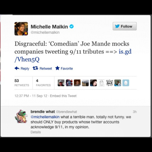 joemande:  Shout out to Michelle Malkin for making today a really special 9/11 for me.  awesome.