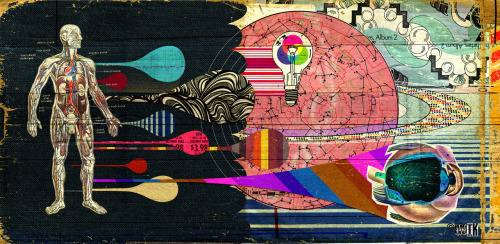 "hifimik:  ""human kind"" mixed media collage on plywood ©2012 MIK"