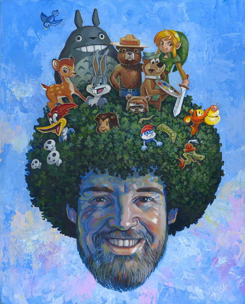 """Saturday Morning Sanctuary""My piece for the group show ""Happy Little Trees"", a tribute to Bob Ross opening September 27th at Screaming Sky Gallery in Portland OR."