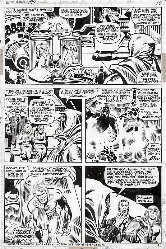 themarvelageofcomics:  Here's a page from FANTASTIC FOUR #144 by Rich Buckler and Joe Sinnott, also featuring one of those bottom-strap ads.