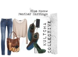 The Blue Macaw Set by kultchacollective featuring low rise jeansBrandy Melville  / Low rise jeans / Sergio Rossi high heel shoes / Monserat De Lucca  / Dolce&Gabbana bronzing powder, $63 / Stila