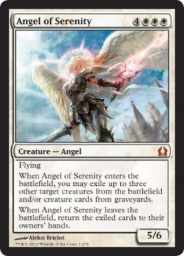 White mythic incoming! Angel of Serenity is a huge creature that might just be Constructed playable. The 7 mana is a lot, but it should be able to provide a huge tempo and card advantage gain. It enters the battlefield, and can get rid of as many creatures from the opponent's board as are necessary. Most of the time, it'll probably be best to exile two creatures from the opponent's board and one creature from your graveyard, so that if or when the angel dies you'll have another beater to match the two creatures coming back from the hand. I'm really loving this girl.