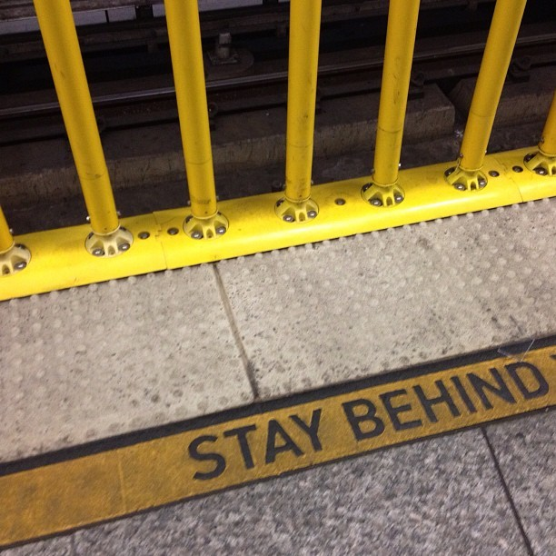 Stay Behind - #la #metro #hollywood #losangeles #myhollywoodhood #ridemetro #underground #life #transportation #subway #yellow #staybehind (Taken with Instagram)