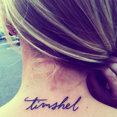 "fuckyeahtattoos:  From East of Eden by John Steinbeck it means 'Thou mayest' in Hebrew.  ""This is not theology. I have no bent toward gods. But I have a new love for that glittering instrument, the human soul. It is a lovely and unique thing in the universe. It is always attacked and never destroyed— because 'Thou mayest.'"" Done by the awesome Chris at Life After Death Tattoo, Costa Mesa, CA :)"