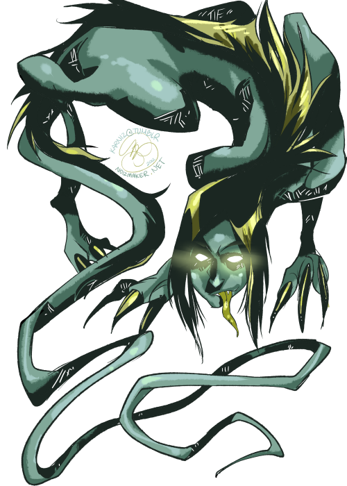 Warm Up Doodle: Monster-thing I scribbled up… I like to believe he hides in toilets and is about thirteen inches long. What he does in toilets is completely up to you…