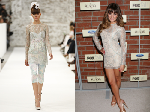Lea Michele at the FOX Fall Eco-Cosino Party and Jimmy Kimmel Live - 10th September 2012 Lea definitely has a thing for short lace dresses! Such as her Jay Leno dress, and a her blue ASOS piece at the American Horror Story premiere. This one, was short and chique, and matched a grey smoky eye. Clique Lace Mini Dress Sorbet from the Cruise 2012/13 Collection $975.00