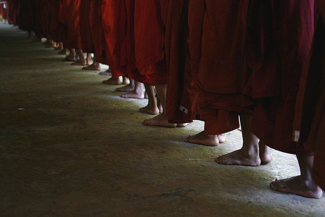 Buddhist monks' feet, Myanmar by Eric Lafforgue on Flickr.Via Flickr: Monks waiting for the lunch © Eric Lafforgue www.ericlafforgue.com