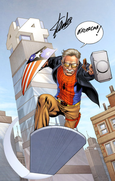thegeekcritique:  temporalfluxinfinity:  Stan The Man Lee by spidermanfan2099 Want more in-depth Temporal Flux? Checkout the original blog  Shawn writes: Why the Golden Age Captain America shield, I wonder.