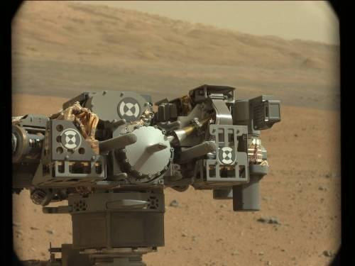 explorationimages:  Curiosity: Another Mastcam image of the rover's arm, 9/12/12. They appear to be taking photos of the instrument turret from every possible angle.