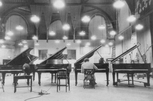 Glenn Gould at the Columbia studio, playing one of four grand pianos, New York, 1956
