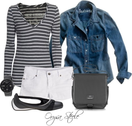 Hello Weekend by orysa featuring denim shorts ❤ liked on PolyvoreMadewell  / True Religion striped shirt, $100 / Denim shorts / Puma  shoes / Bric's messenger bag / Puma