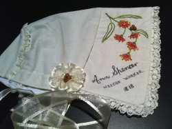 Heather and Dorothy Kay from Queensland made this beautiful bonnet tribute that includes the Australian native red gum design within the embellishment.  Christina Henri was delighted to receive this bonnet as part of the Roses from the Heart Memorial
