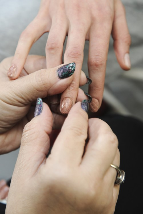"""Basket weave"" nails provided a twist on classic nudes at Rodarte."