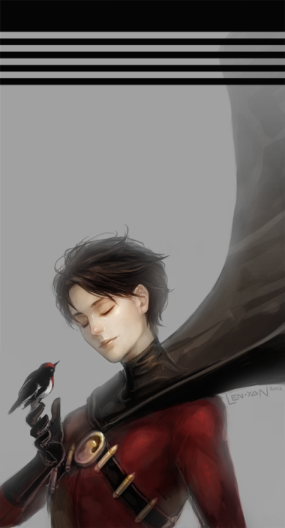 len-yan:  tim drake ★ red robin  …  for the lovely dc fandom, especially the participants of wisia and bee's dcu fic hunt. it's amazing how kind and sweet all of you are~  Oh Gosh this is absolutely beautiful- ;o; I love Tim's tender expression and the way his cape flies up- and the little bird and hgaugahga.;o; What gorgeous, gorgeous work~