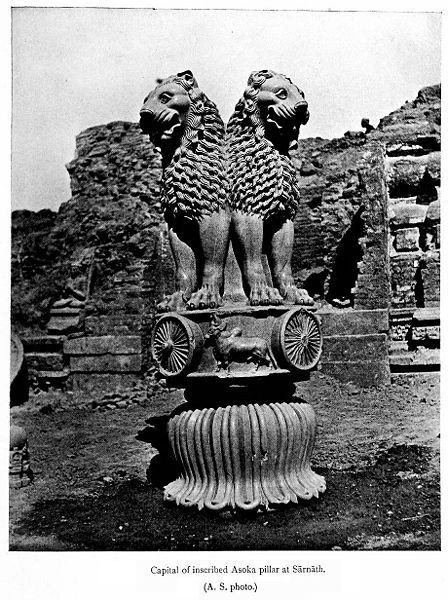 collectivehistory:  The Ashoka lions at Sarnath, Uttar Pradesh ca. 1911 Vincent Arthur Smith   The Ashoka pillar in Sarnath