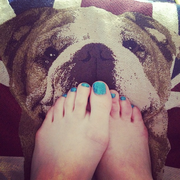 Excuse my toes but I did Rockstar nails in Turquoise!  (Taken with Instagram)