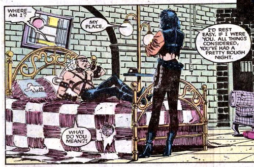 "seanhowe:   Never forget. (Panel from X-Men #193. Art by John Romita, Jr. and Dan Green.)In X-MEN #192, Professor X was the victim of a hate crime, attacked and left for dead by a group of anti-mutant college students. When he woke up in the care of the subway-dwelling Morlocks, he found that he'd been outfitted in studded leather straps, with spikes and piercings. According to Jim Shooter, writer Chris Claremont had initially wanted to dress him in ""transvestite gear"" for the story. ""He had this thing for bondage and fetish,"" said editor Annie Nocenti. ""He wanted to run a story line where Xavier wanted to wear women's clothes and I said, 'No fucking way.'""    Reason ten million why Claremont is the best. What we got was still amazing."