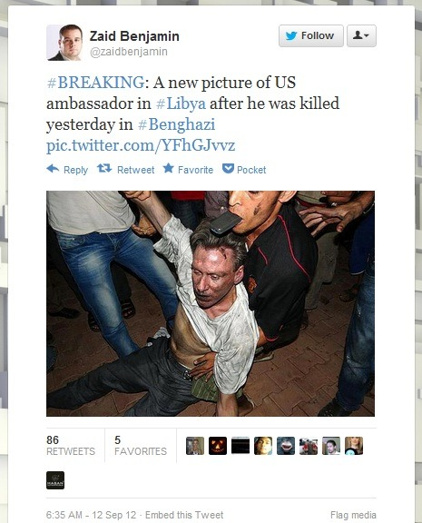Reportedly a photo of U.S. Ambassador to Libya Christopher Stevens after his death in Benghazi, Libya. He was killed in an attack during a protest against an American-made video seen as insulting Islam. (Story)