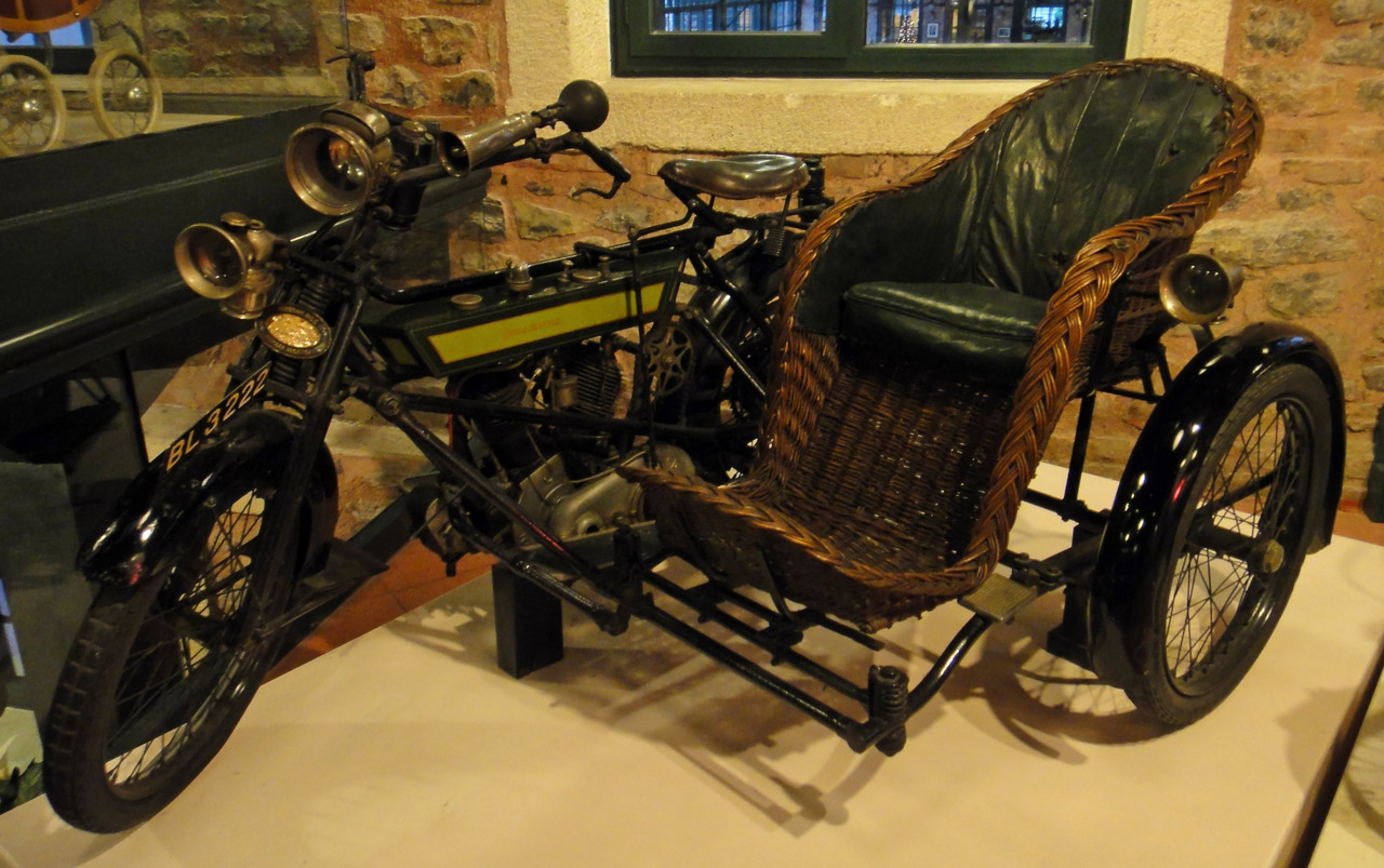 Royal Enfield motorcycle with wicker sidecar circa 1913.