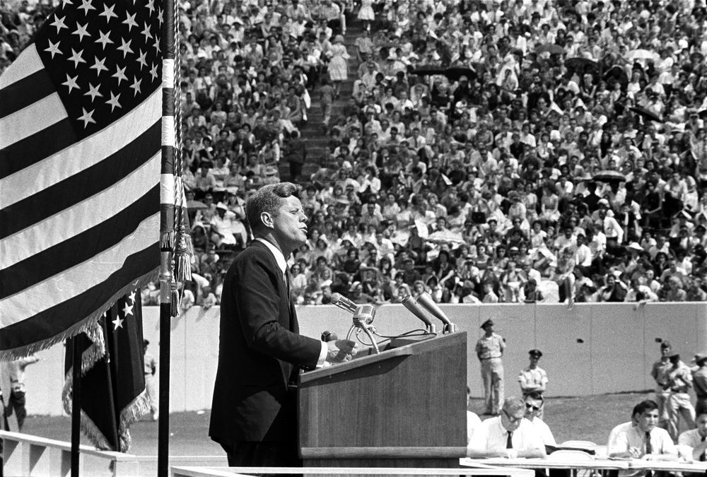 "jfklibrary:  September 12, 1962 — President John F. Kennedy speaks at Rice University Stadium, Houston, Texas, concerning the nation's efforts in space exploration. In his speech the President discusses the necessity for the United States to become an international leader in space exploration and famously states, ""We choose to go to the Moon in this decade and do the other things, not because they are easy, but because they are hard.""  [Listen to JFK's speech]"