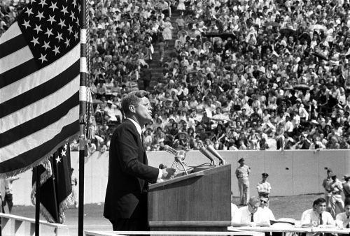 "jfklibrary:  September 12, 1962 — President John F. Kennedy speaks at Rice University Stadium, Houston, Texas, concerning the nation's efforts in space exploration. In his speech the President discusses the necessity for the United States to become an international leader in space exploration and famously states, ""We choose to go to the Moon in this decade and do the other things, not because they are easy, but because they are hard."""