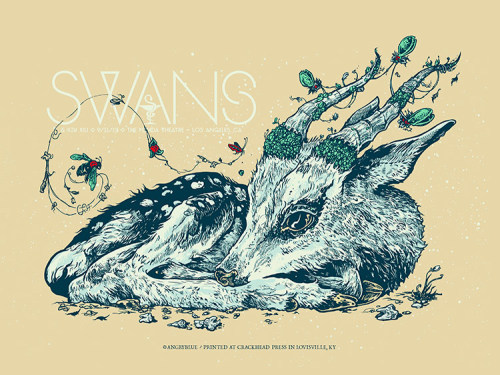 "Swans: Lunacy is a limited edition (200) 5-color signed/numbered screen print. Appx 18x24"" $40(+shipping)  www.angryblue.com"