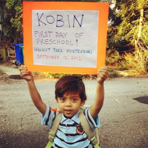 Kobins 1st day of preschool.   I love him! #iamproud.  (Taken with Instagram)