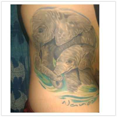 My elephants done by Jo Santos from Art Rage Tattoo, Scranton Pennsylvania.