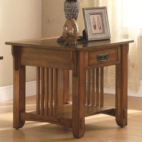 Outfit your living and entertaining space with this charming end table. Crafted with a warm brown oak finish, it adds a livening touch with its presence. The sides feature slat accents for a subtle mission styling, and there is both a drawer and a shelf for storage. Stunning butterfly knot inlays on the table top add a finishing touch. Add this end table to your home for only $189!