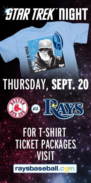 Yes its happening, Star Trek Night is coming to Tropicana Field, when the Rays play a team made up of Klingons, Romulans & Ferengi coaches (The Red Sox) on Thursday night September 20th. Come dressed in your best Trek attire and we will have Klingons, Star Fleet officers and more in the press level area throughout the game for great picture opportunities. And you will get this cool Joe Maddon Borg Shirt. Click on the picture for more information and to purchase tickets!