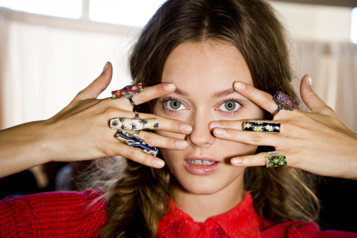 Rings at Tory Burch, spring 2013 Photo: Mark Leibowitz
