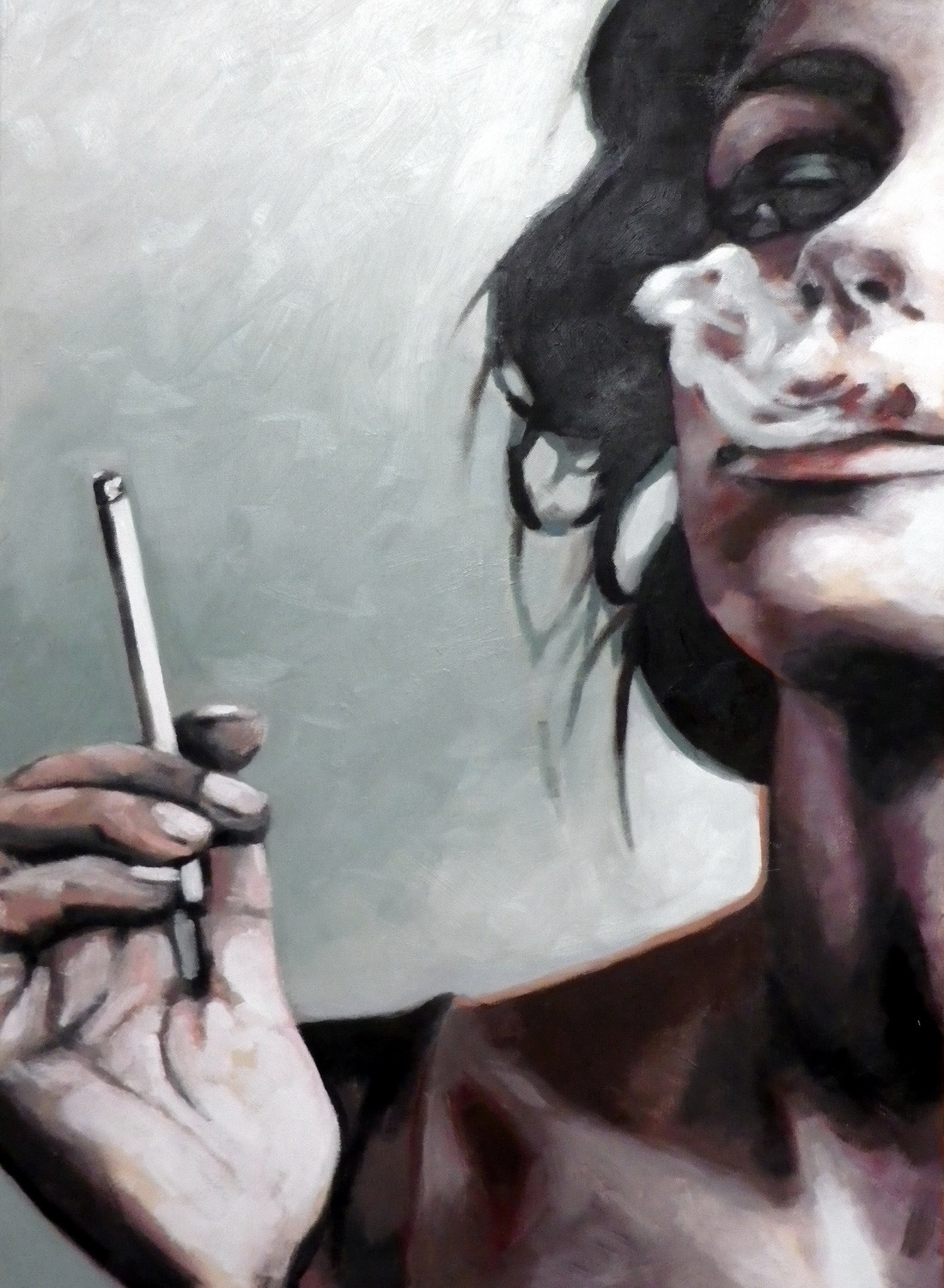 nicole-brannen:  thomassaliot:  Smoke unfinished last Oil on canvas 70/110 cm  jesus