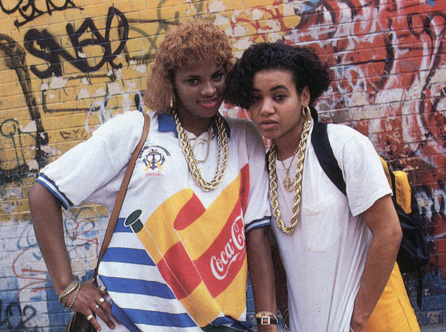 Salt-N-Pepa with the mid '80s steelo: dookey ropes and Coca Cola shirts Photo by Janette Beckman