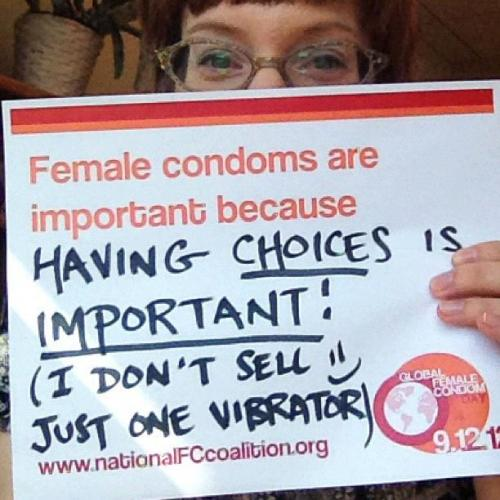 It's Global Female Condom Day! Though a highly effective safe-sex option for women, men, and youth, most people remain unaware about female condoms or are unable to access them. Global Female Condom Day aims to increase the number of women and men around the world who know about, use, and advocate for female condoms.  If you're in Chicago, support the Chicago Female Condom Campaign and learn where you can get free Female Condoms!! This cool lady is Laura Anne Stuart, MPH. Find her at her store, Tool Shed Toys, in Milwaukee, or sex educating via the SEXPress in the Milwaukee Express.