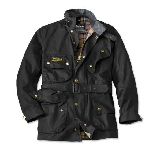 It's On Sale: Barbour International Barbour International on sale at Bloomingdales for $209.50. Free shipping to boot.  Note that if you want, you can take off the Barbour logo patch with a seam ripper, but you should do it as soon as you get it, so that the jacket doesn't fade unevenly.