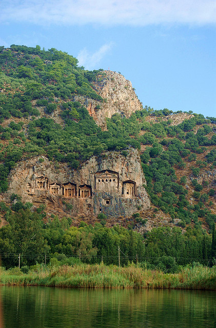visitheworld:  Lycian rock-cut tombs above Dalyan river, Kaunos, Turkey (by katunchik).